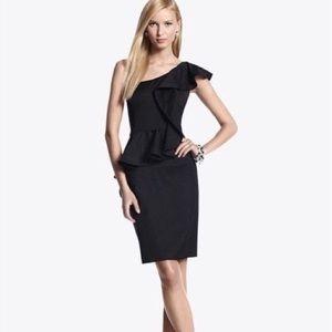 White House Black Market One Shoulder Peplum Dress